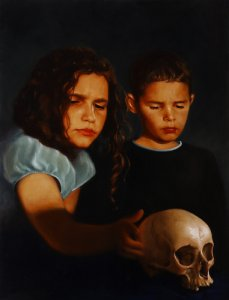 02. David Nicholson - Ellysha and Evan with skull - 2002/2005 - Huile sur (...)